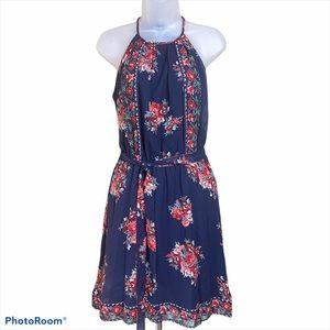 JOIE Dress Blue MAKANA 100% Silk Halter lined S